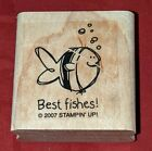 Very Punny BEST FISHES FISH WISHES Stampin Up Wood Mounted Rubber Stamp RARE