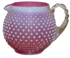 Fenton Hobnail Cranberry Opal 3965 Squat Jug Pitcher