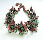 Vintage Red Green Flowers Leaves Lampwork Art Glass Bead Necklace FE20BN20