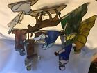 Vintage 9 Piece Stained Glass Nativity Scene