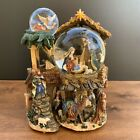 3 Level Christmas Musical Snow Globe  Carousel Baby Jesus Nativity Scene