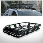 Matte Black/Green Modular HD Steel Roof Rack Basket Cargo Tray w/Wind Fairing C1