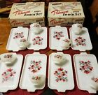 16 PIECE VTG RETRO PRIMROSE ANCHOR HOCKING WHITE SNACK SETS LUNCHEON BOXED USA