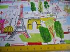 Paris France Eiffel Tower Monuments Waverly Upholstery Fabric Brite Illustration