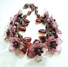 Vintage Pink Red Flowers Leaves Lampwork Art Glass Bead Necklace FE20BN43