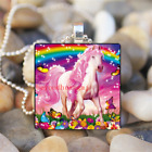 Cute Butterfly Rainbow Art Cabochon Glass Silver Tile Chain Pendant Necklace