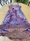 Band of Gypsies Purple Tie Dye Hi-Lo Dress w Lace Detailing Sleeveless