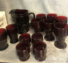 Royal Ruby Red Pitcher Set Anchor Hocking 13 Pieces Nice Condition Faceted