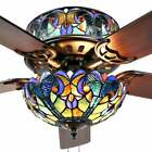 Blue Stained Glass Tiffany Style 52 Ceiling Fan Pull Chain and 2 Color Blades