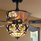 Floral Stained Glass Tiffany Style 5 Blade 52 Inch 6 Light Ceiling Fan