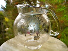 Glass Water Pitcher with Sterling Silver Overlay Strawberries Cherries Grapes