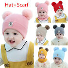 Kids Girl Boy Baby Infant Winter Crochet Knit Hat Beanie Cap With Scarf Toddles