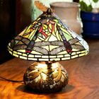 Tiffany Style Dragonfly Reading Accent Stained Glass Table Lamp Mosaic Base 10in
