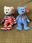 Liberty the Bear (White face)2002/ America the Bear 2001 TY Beanie Baby. Vintage