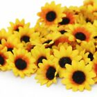 100pcs Artificial Daisy Heads Silk Flowers Head Sunflower for Wedding Party Home