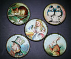 Glass Dome Button Set of 5 Alice in Wonderland Cat Rabbit etc FREE US SHIPPING