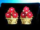 SUPER NINA RICCI GOLD PLATED RED MOLDED GLASS FLOWERS BASKET EARRINGS RC4