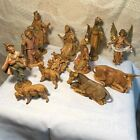 Vintage 14 Pc Fontanini Nativity Set 3 Wise Men Lamps Angel Made In Italy 1983
