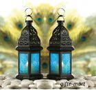 2 small 10 ocean BLUE glass Moroccan shabby Candle holder Lantern light wedding