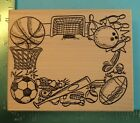 Large SPORTS COLLAGE FRAME Rubber Stamp by The Rubbernecker Baseball Soccer