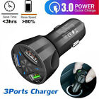 For IOS Android 3 Ports USB Car Charger Adapter LED Display QC 30 Fast Charging