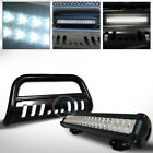 Fits 10 18 Jeep Wrangler JK Black Bull Bar Bumper Guard+120W LED Fog Light