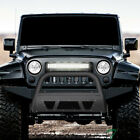 Topline For 10 18 Wrangler JK Matte Black Studded Mesh Bull Guard w 120W LED Bar