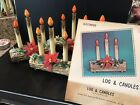 4 VINTAGE CHRISTMAS BLOW MOLD PLASTIC LIGHTED YULE LOG ELECTRIC 3 CANDLES Boxes