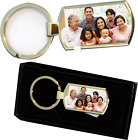 Personalized Printed ANY PHOTO TEXT IMAGE NAME Chrome Metal Keyring Gift Set