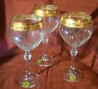LOT OF 3 Cordial WINE Glassware Made In Italy  GOLD TRIMMED GLASSES 7 3/4 HIGH