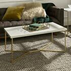 Y leg Design Rectangle White Faux Marble and Gold Coffee Table for Living Room