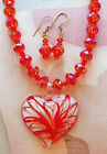 RED FACETED BEAD necklace FUSED GLASS HEART ears 18