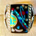 VINTAGE NASA Thunder Comet Outer Space Opal Turquoise Ring 65 heavy Sterling