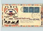 1932 OLYMPIC Summer Games 3 stamps  719 Special Delivery FDC