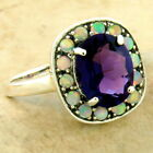 25 CT ART DECO 925 SILVER LAB AMETHYST OPAL ANTIQUE STYLE RING SIZE 7 1086