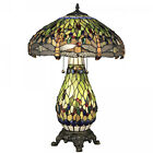 Tiffany Style Stained Glass Dragonfly Reading Table Lamp w Lighted Base