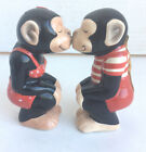 Cute Kissing Chimps Salt and Pepper Shakers Magnetic Ceramic Set Monkey Business