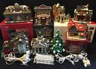 Ceramic CHRISTMAS VILLAGE 8 Buildings- SHOPS Homes BANK Train Station