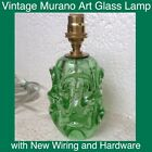 Murano Art Glass Free Form Green Lamp Handmade With New Wiring And Hardware Look