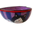 Catzilla Heart Shaped Bowl Kitty Cats Hand Painted Candice Rieter