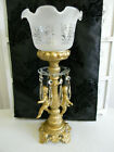 Gorgeous VINTAGE Double CHERUB PUTTI LAMP French Glass Shade Long Prisms
