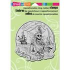 New Stampendous RUBBER STAMP cling HALLOWEEN PIRATE COVE free us ship