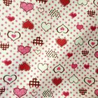 Cotton Flannel Red Pink Heart Multi Pattern Dot Gingham Print 45 BY THE YARD