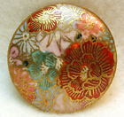 Vintage Satsuma Button Hand Painted Flowers with Gold Design 1 Pretty