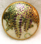 Vintage Satsuma Button Hand Painted Wisteria Flowers 7 8