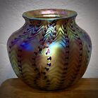 Rare ORIENT & FLUME Signed 1978 Glass DNA Zipper Pattern Iridescent Vase Mint