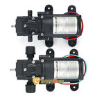 2Pcs DC 12V 130PSI Water Pump High Pressure Diaphragm 70W Self Priming RV Marine