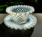 Fenton White French Opalescent Glass Hobnail Mayonnaise Bowl With Underplate