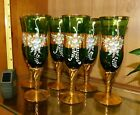 6 Champagne Flutes Vintage Czech Bohemian enamelled green glass gold gilded