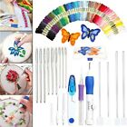 Magic DIY Embroidery Pen Knitting Sewing Tool Kit Punch Needle Set w/ 50 Threads